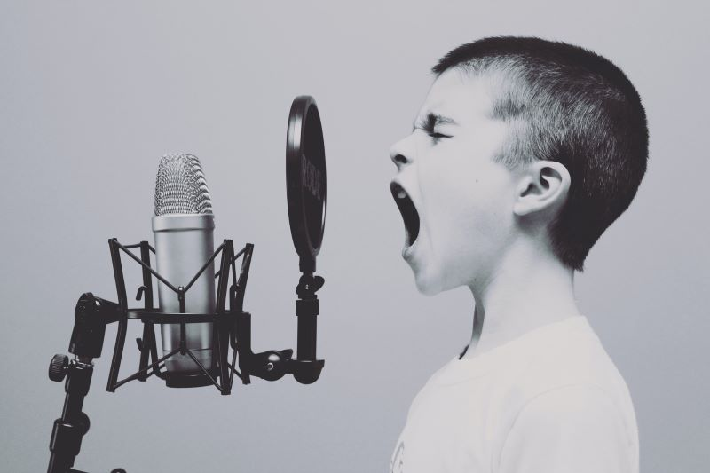 Boy shouting into microphone the Best Practices for Ecommerce Web Design in 2020