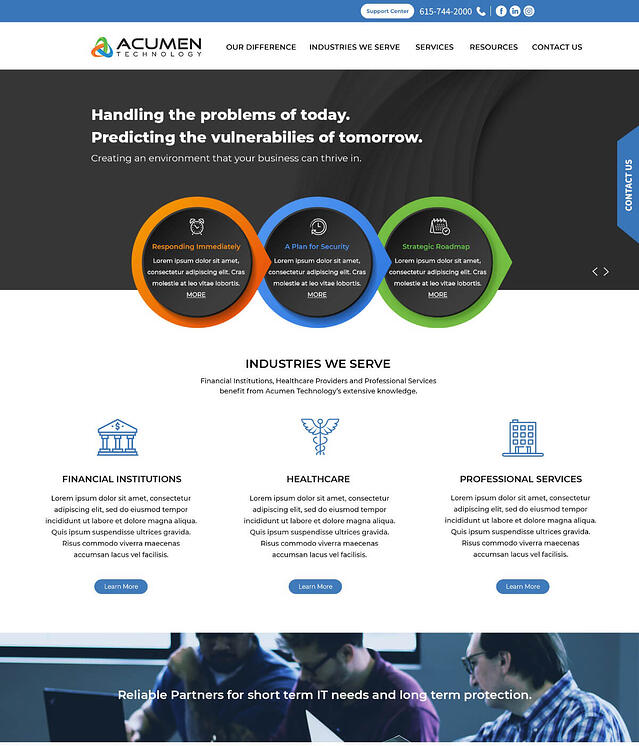 Website Development for Managed IT Solutions & Support Acumen Technology