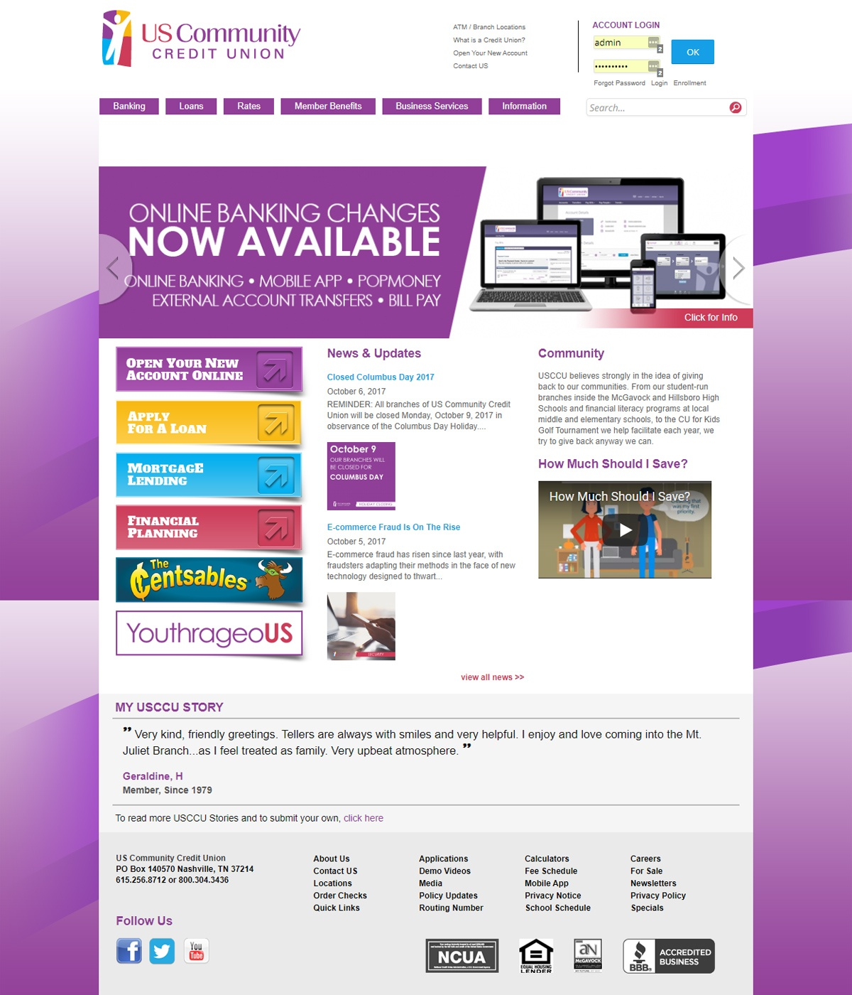 Banking Credit Union Website Development