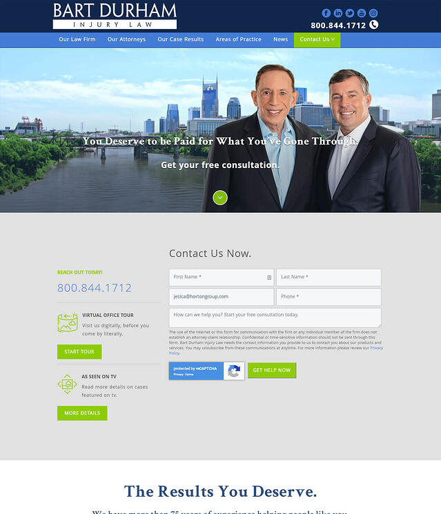 Bart Durham Injury Law Website Design for Lawyers & Attorneys