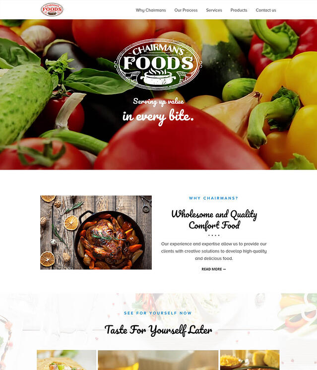 Chairmans Foods Website Design for Food Manufacturing Company