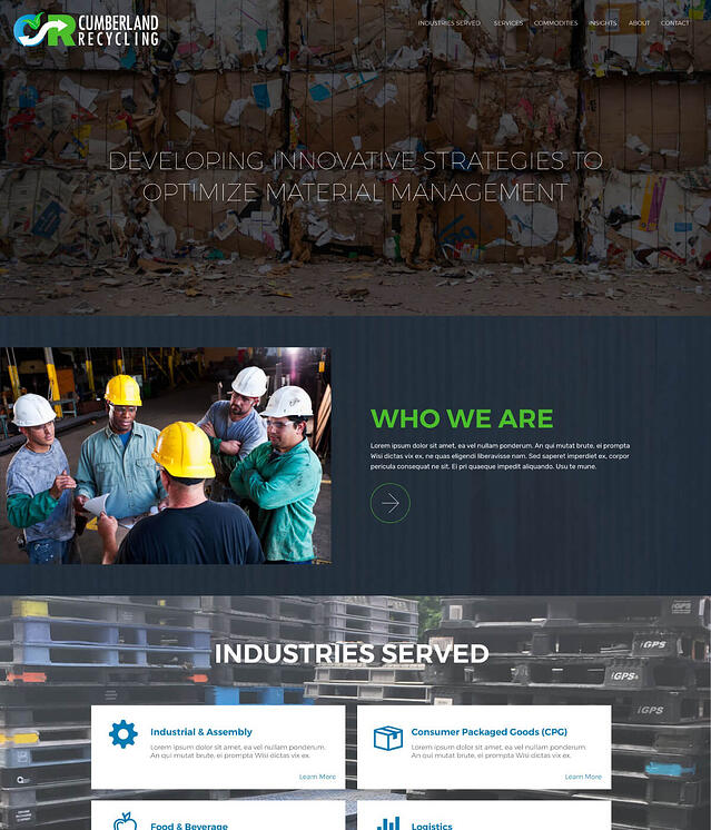 Web Design for Recycling Facilities Cumberland Recycling