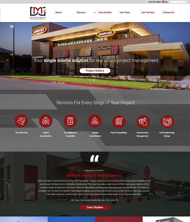 Web Development for Real Estate Project Management DMG Development Management Group