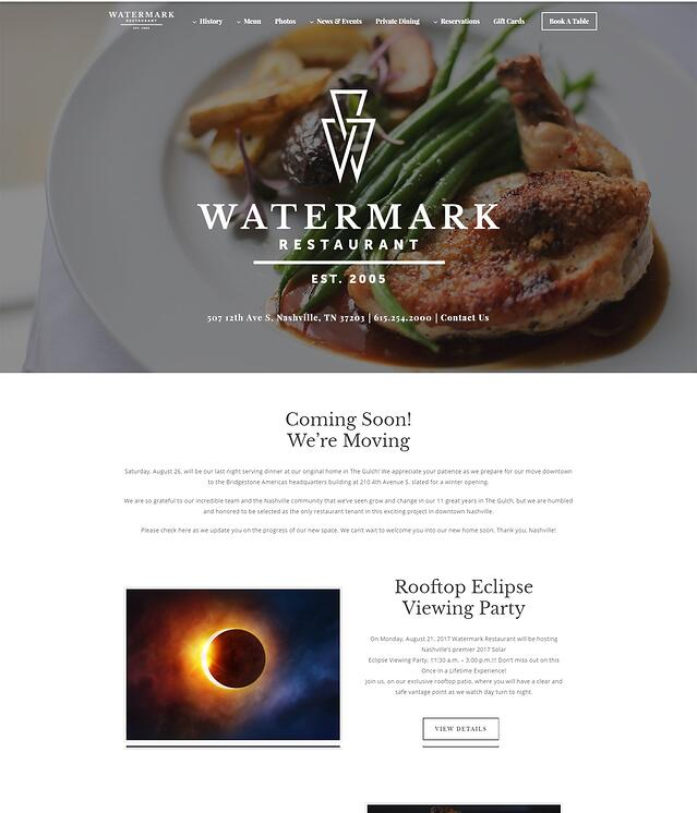 Fine Dining Website Design