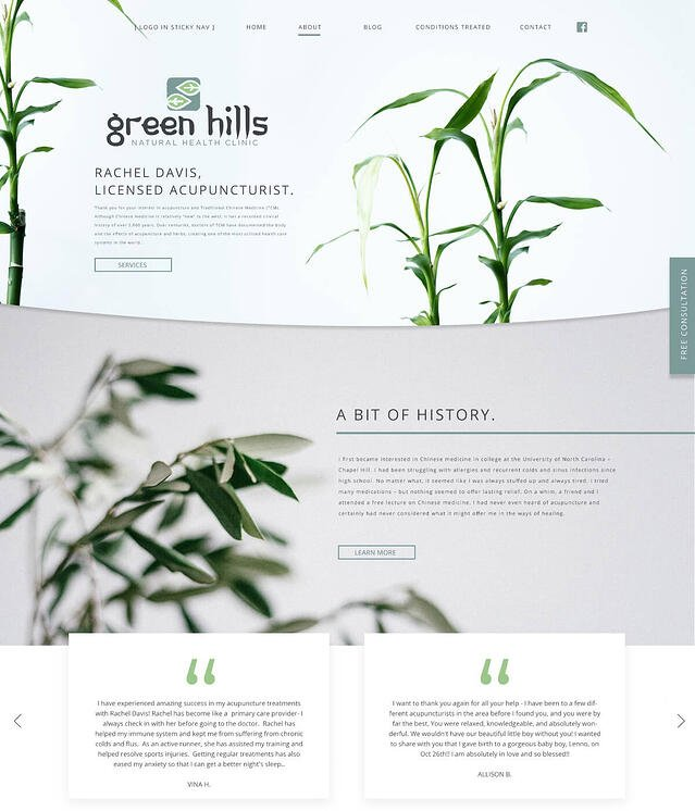Website Design for Natural Health & Acupuncture Green Hills Natural Health Clinic