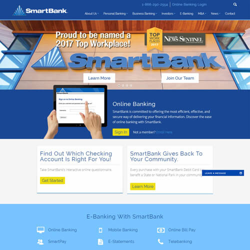 Website Development for Banking Financial Institutions SmartBank for the Website of the Best Web Design in Nashville TN, Horton Group who also provides Nashville SEO, Inbound Marketing and Web Support.