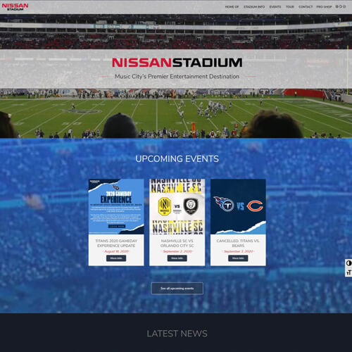 Website Development for Stadiums, Arenas & Event Venues Nissan Stadium  for the Website of the Best Web Design in Nashville TN, Horton Group who also provides Nashville SEO, Inbound Marketing and Web Support.