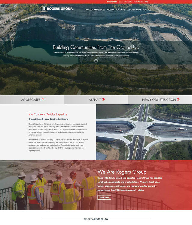 Web Development for Construction Aggregate Materials Rogers Group