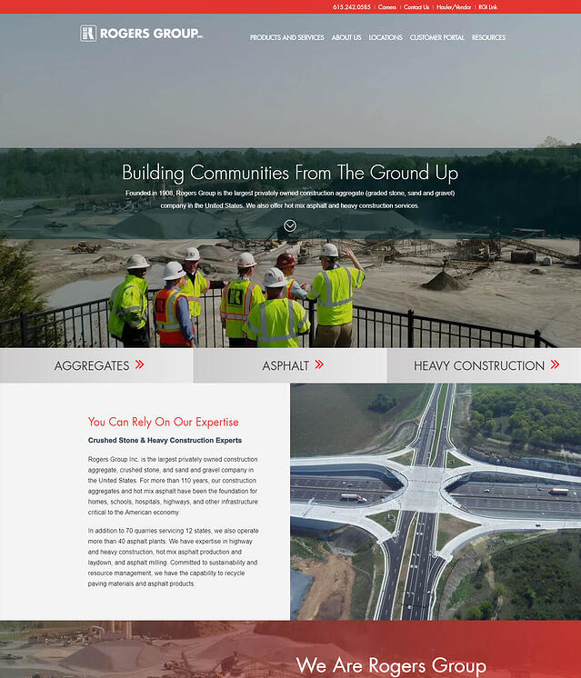 Rogers Group Inc Website Design for Construction Industry Companies