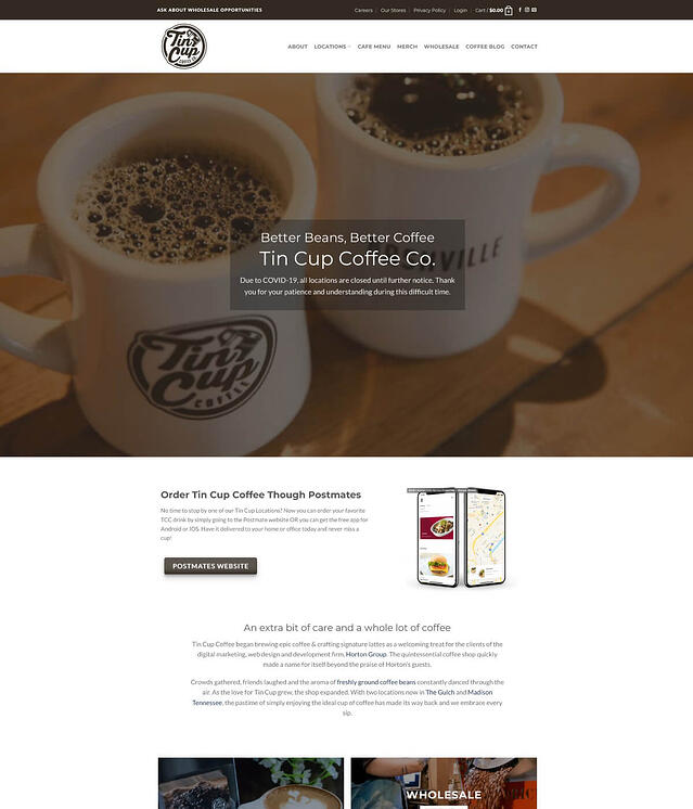 Web Development for Coffee Shop Retail Locations Tin Cup