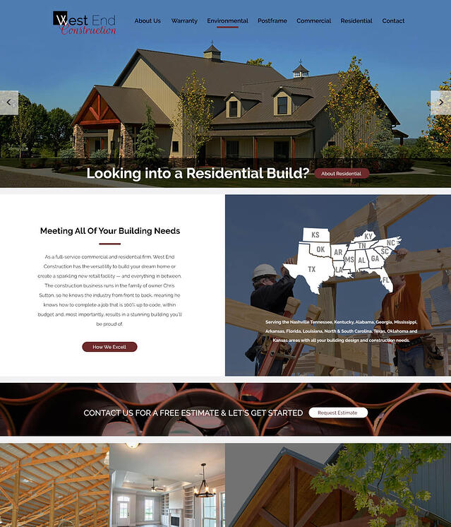 Web Design for Residential & Commercial Construction West End Construction