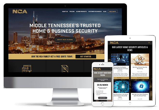 NCA Alarms Mobile Responsive Website